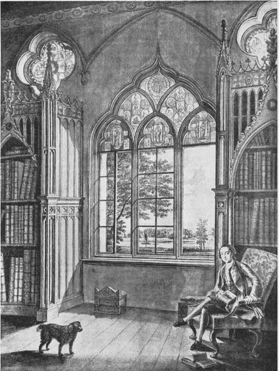 [Horace Walpole: Sitter in the library at Strawberry Hill, by Johann Heinrich Müntz (1727-1798)]