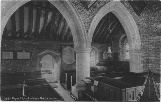 [St Giles Church, Stoke Poges: Gray's Pew in corner ]