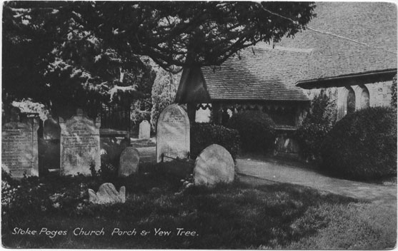[St Giles Church, Stoke Poges: Photograph of the Church Porch and Yew Tree ]