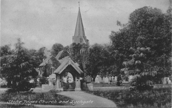 [St Giles Church, Stoke Poges: Photograph of the parish church, as it looked before the removal of the spire in 1924]