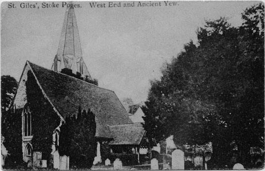 [St Giles Church, Stoke Poges: West End and Ancient Yew ]