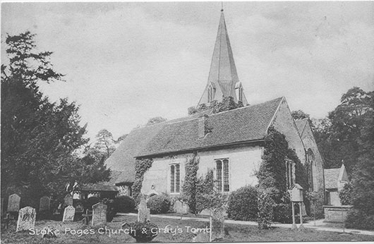 [St Giles Church, Stoke Poges: Photograph of the parish church and yew tree ]