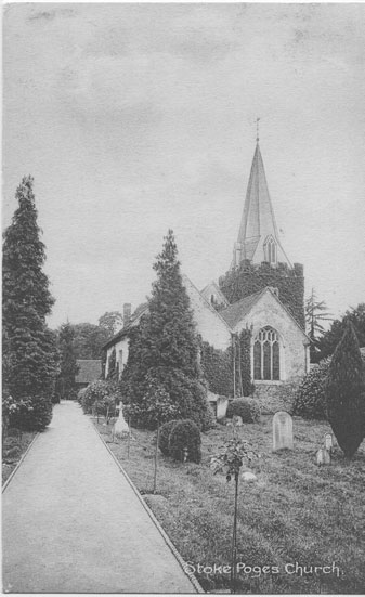 [St Giles Church, Stoke Poges: East End Photograph of the parish church, as it looked before the removal of the spire in 1924]