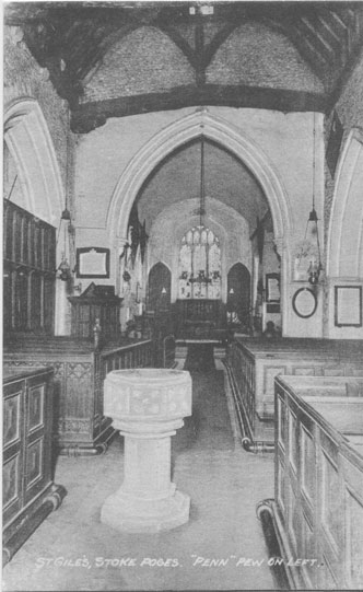 "[St Giles Church, Stoke Poges: ""Penn"" pew on left ]"