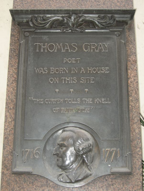 [Thomas Gray: plaque at 39                                      Cornhill, London]